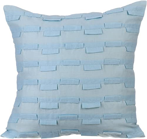 The HomeCentric Decorative Pillowcases, Decorative Pillow Covers 24×24 inch 60×60 cm Blue, Cotton Linen Throw Pillow Covers, Handmade Pillow Covers – Sky Ocean