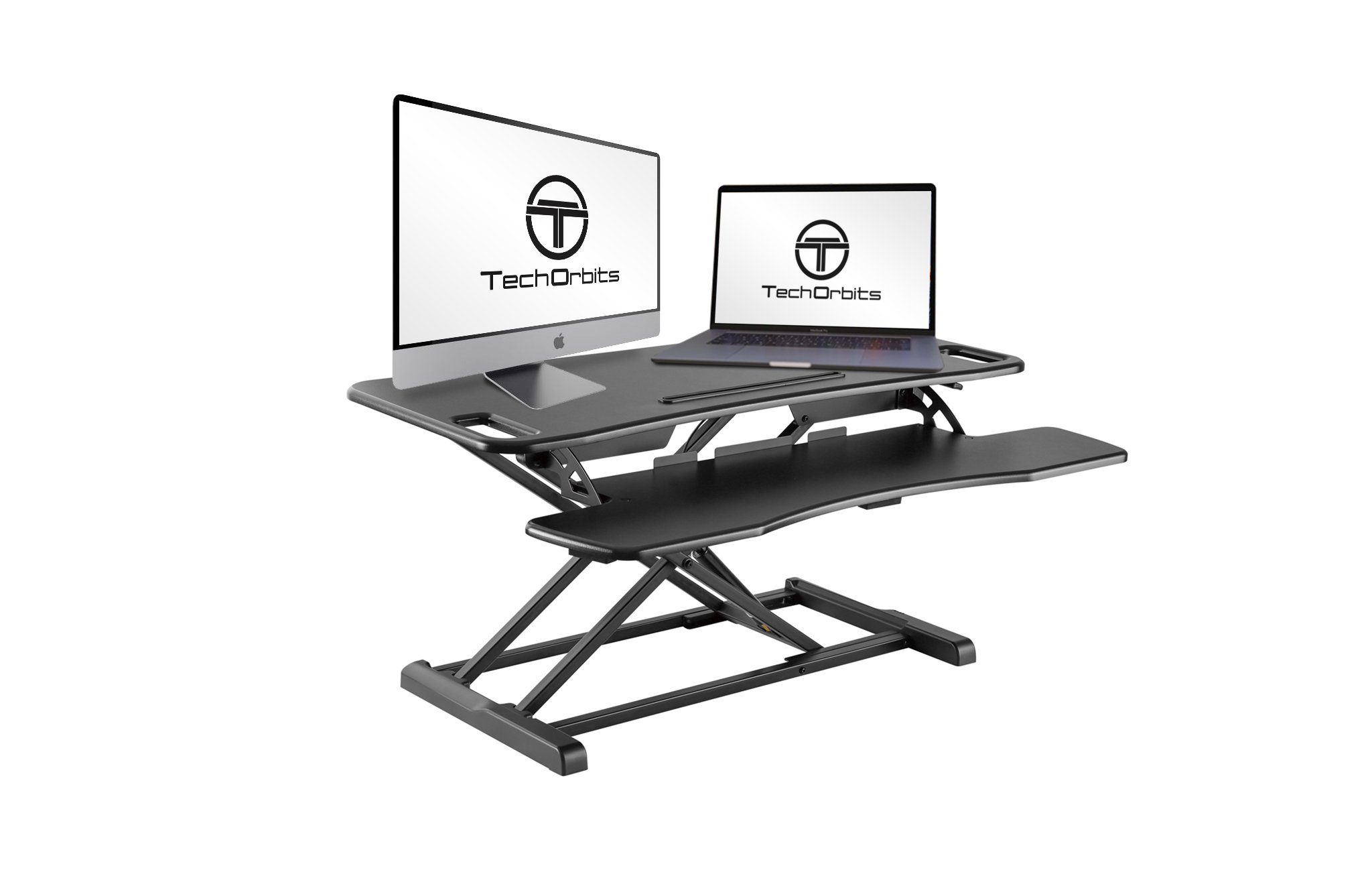 TechOrbits Rise-X Pro Standing Desk Workstation - Stand Up Desk Riser Monitor Mount Compatible - Home & Office Height Adjustable Desk - Sit to Stand Workstation - 37'' Black