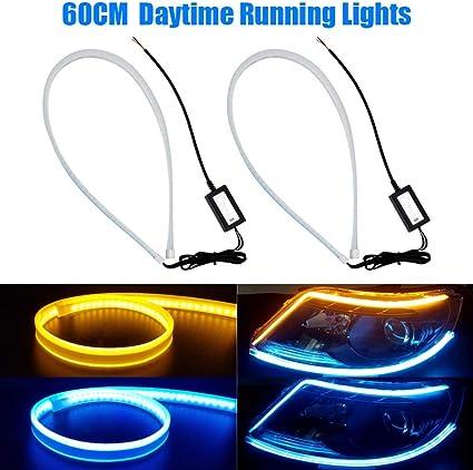tira de luces de circulaci/ón diurna YANF flexible DRL Switchback y tubo de luz de se/ñal de giro Tira de luces LED de color blanco de 24 pulgadas 2 unidades