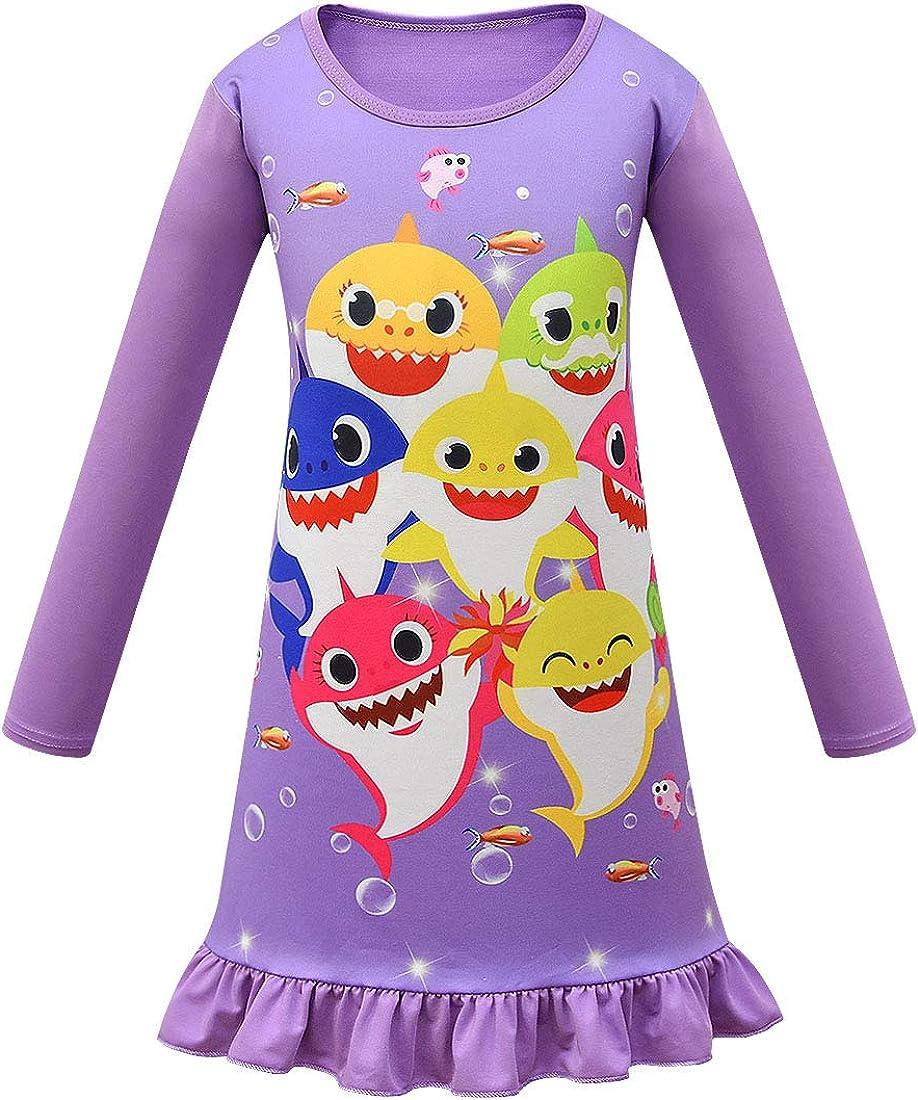 Baby Shark Girls Night Dress Nightie Red Pink Purple Color Pajamas 3-8Years