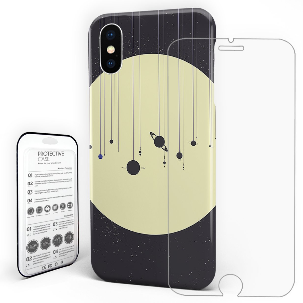 Protective Slim Phone Case Solar System (You are Here) Strings Hard Back Phone Cover with Tempered Glass Screen Protector for iPhone X Cover