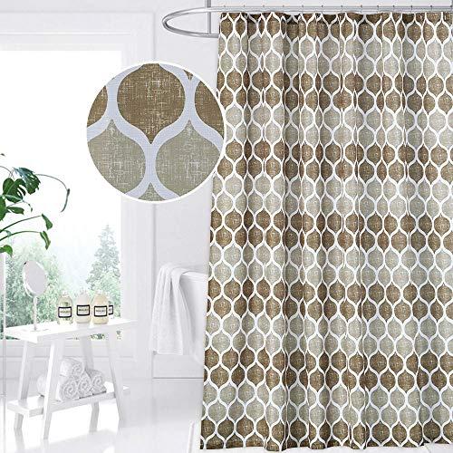 CAROMIO Geometric Fabric Shower Curtain, Moroccan Ogee Patterned Modern Fabric Shower Curtain for Bathroom, 72 x 72, Tan/Brown