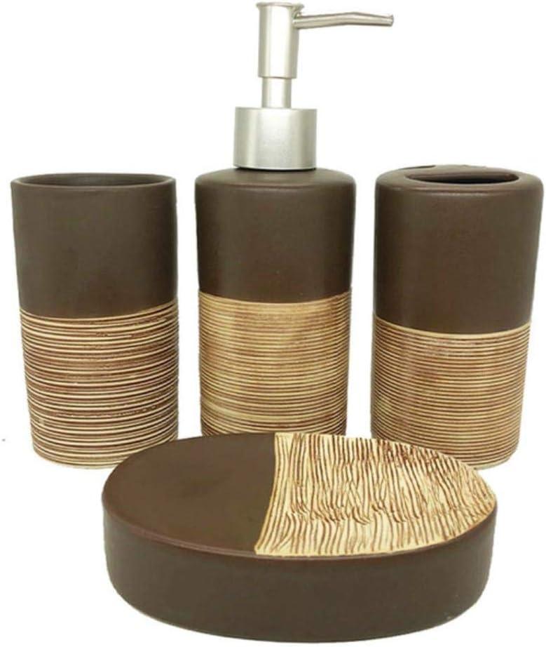 YGGY 4 Juegos de Accesorios de baño de cerámica de Color Chocolate Set de Lavado dispensador de jabón Botellas de loción Portacepillos de Dientes Suministros de baño Set de Regalo de Boda, Chocolate