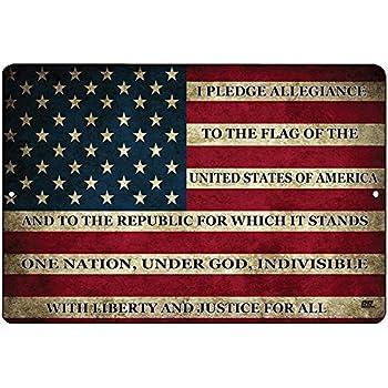 e4f9d58f2326 Rogue River Tactical USA American Flag Metal Tin Sign Wall Decor Man Cave  Bar US Pledge of Allegiance