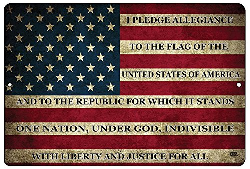 (Rogue River Tactical USA American Flag Metal Tin Sign Wall Decor Man Cave Bar US Pledge of Allegiance)