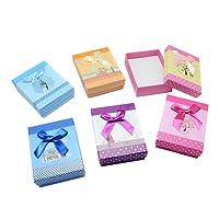 NBEADS 24PCS gioielli scatole regalo con fiocco cartone carta scatole spugne per collana con ciondolo, colore misto, 8x 5x 3cm