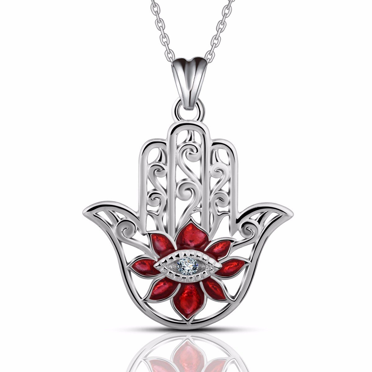 EUDORA 925 Sterling Silver Hamsa Hand Necklace Pendants for WomenEvil Eyes Gifts for Her 18 Red CYD069-1-NL41-18
