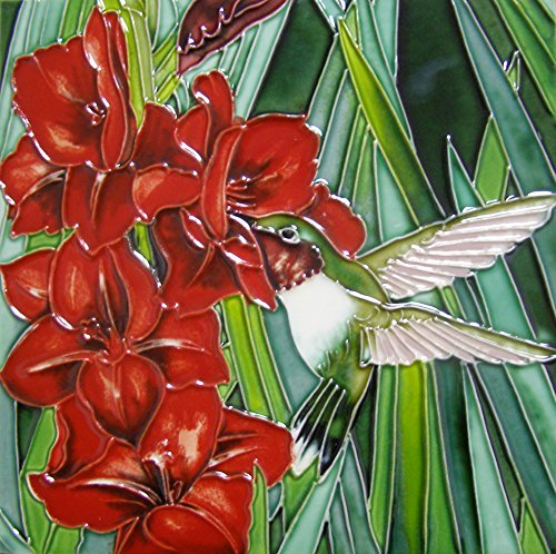Continental Art Center BD-2320 Art Tile 8x8 Art Tile -Hummingbird & Red (Hummingbird Tile)