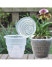Set di 4 pz, vaso di fiori trasparente per di orchidee, con foro traspirante, fioriera in plastica per decorazioni da scrivania o da giardino