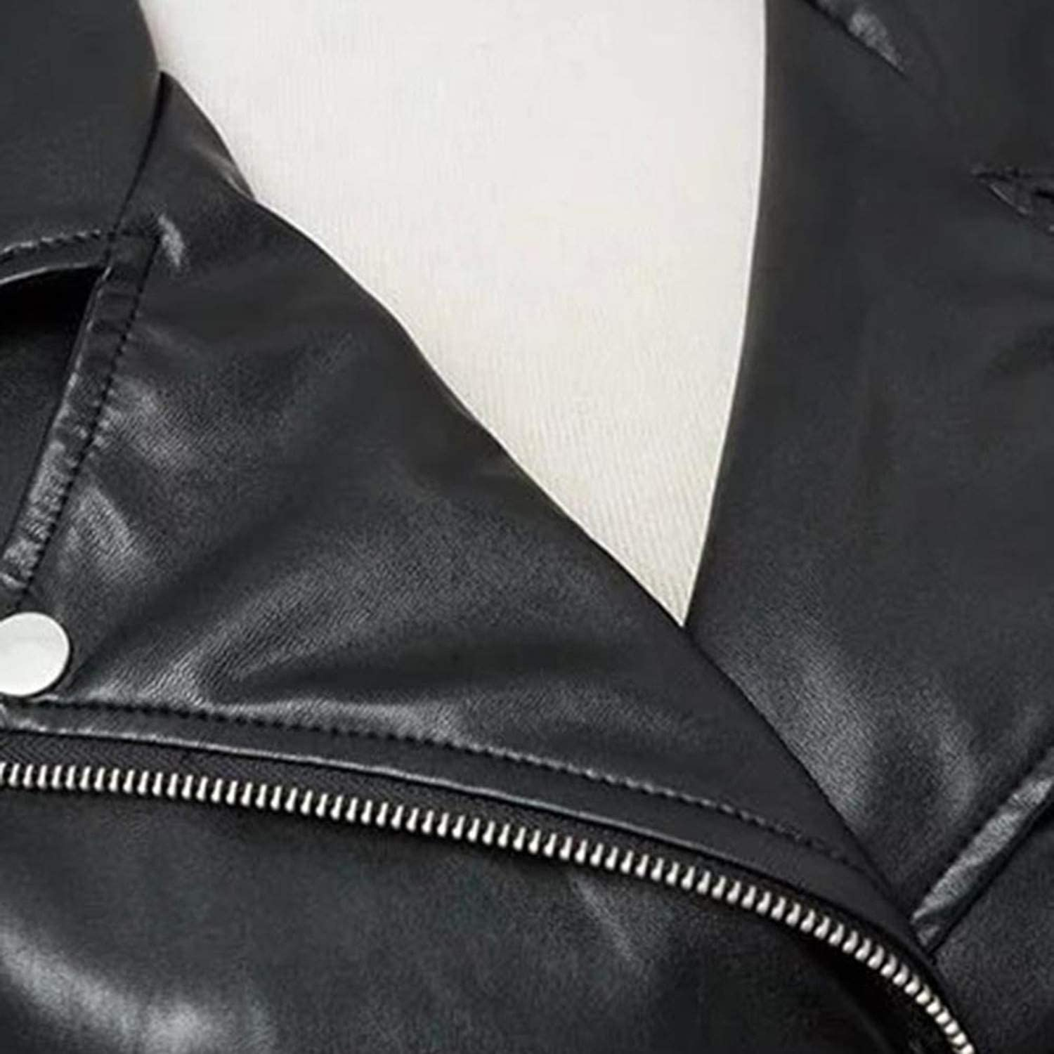 Cheryl Bull Trendy Moto PU Jacket Women WinterCoat Black Zipper Outerwear Jacket Punk