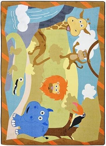 Joy Carpets Kid Essentials Infants Toddlers Jungle Babies Rug, Multicolored, 3 10 x 5 4