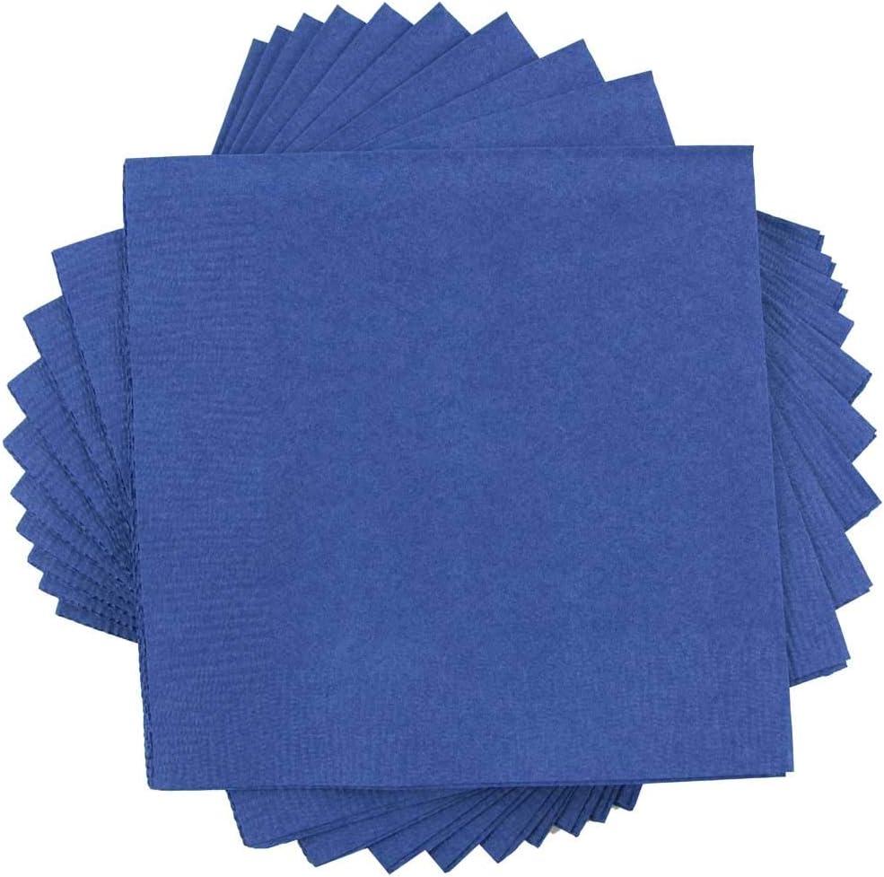 JAM PAPER Small Beverage Napkins - 5 x 5 - Blue - 50/Pack