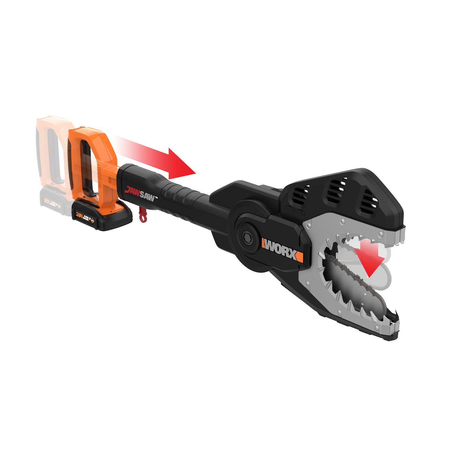 WORX WG320 JawSaw 20V PowerShare Cordless Electric Chainsaw with Auto-Tension by WORX