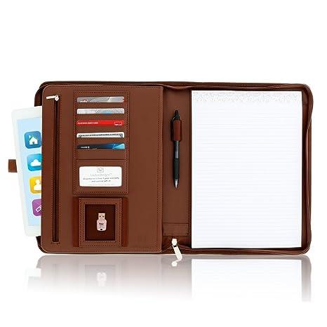Zippered Leather Business Portfolio Padfolio – Professional Dark Brown PU  Leather Portfolio Binder & Organizer Folder with 10 5 inch Tablet Sleeve by