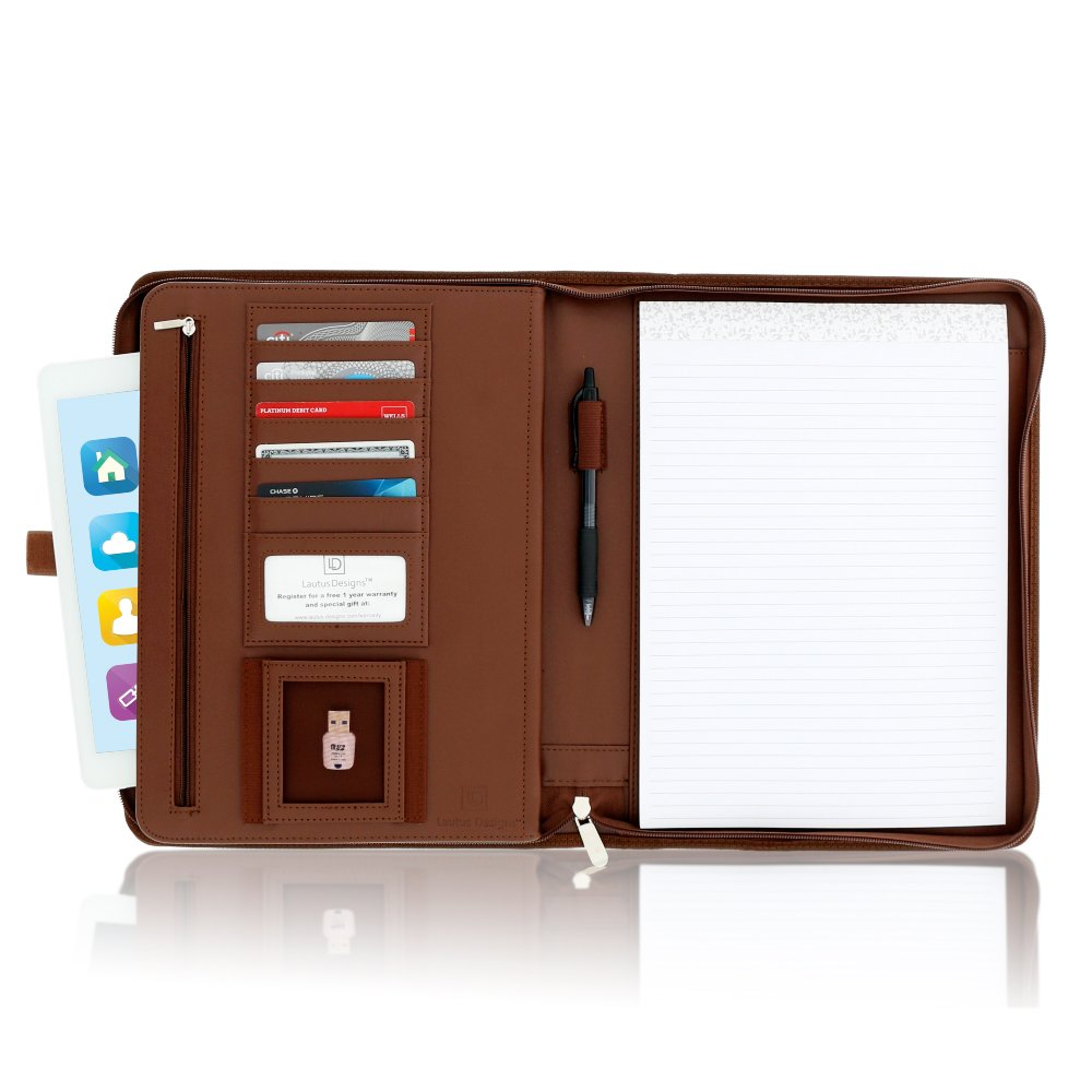 Lautus Designs Zippered Leather Business Portfolio Padfolio – Professional Dark Brown PU Leather Portfolio Binder & Organizer Folder with 10.5 Inch Tablet Sleeve