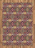 Japanese Area Rug by Ambesonne, Traditional Antique Motifs Eastern Exotic Pattern Asian Accents Vintage Oriental, Flat Woven Accent Rug for Living Room Bedroom Dining Room, 5.2 x 7.5 FT, Multicolor