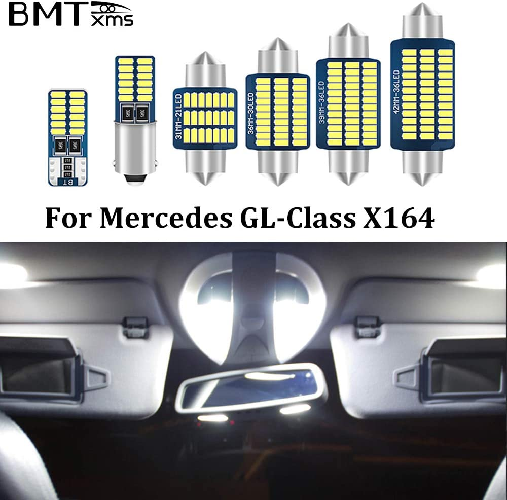 BMTxms Error Free White Car Lights Interior LED Bulbs Map Dome Lamp Canbus for Mercedes Benz GL class X166 GL350 GL400 GL450 GL500 GL550 GL63 AMG 2013-2015 GL-class X166,Pack of 21