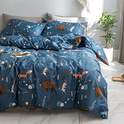 CLOTHKNOW Navy Blue Fox Rabbit Duvet Cover Sets Toddler Kids Child Bedding Sets Twin Size Boys Girls Gift Bear Animal Woodland Theme 100 Cotton 3 pcs - 1 Duvet Cover with Zipper Closure 2 Pillowcases (Bag Duvet Bed Sets In A Cover)