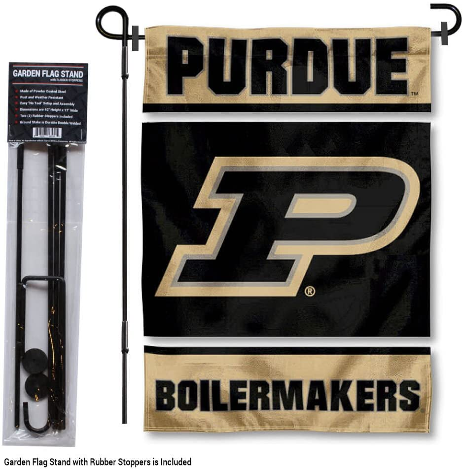 College Flags and Banners Co Purdue Boilermakers Boiler Up Garden Flag with Pole Stand Holder