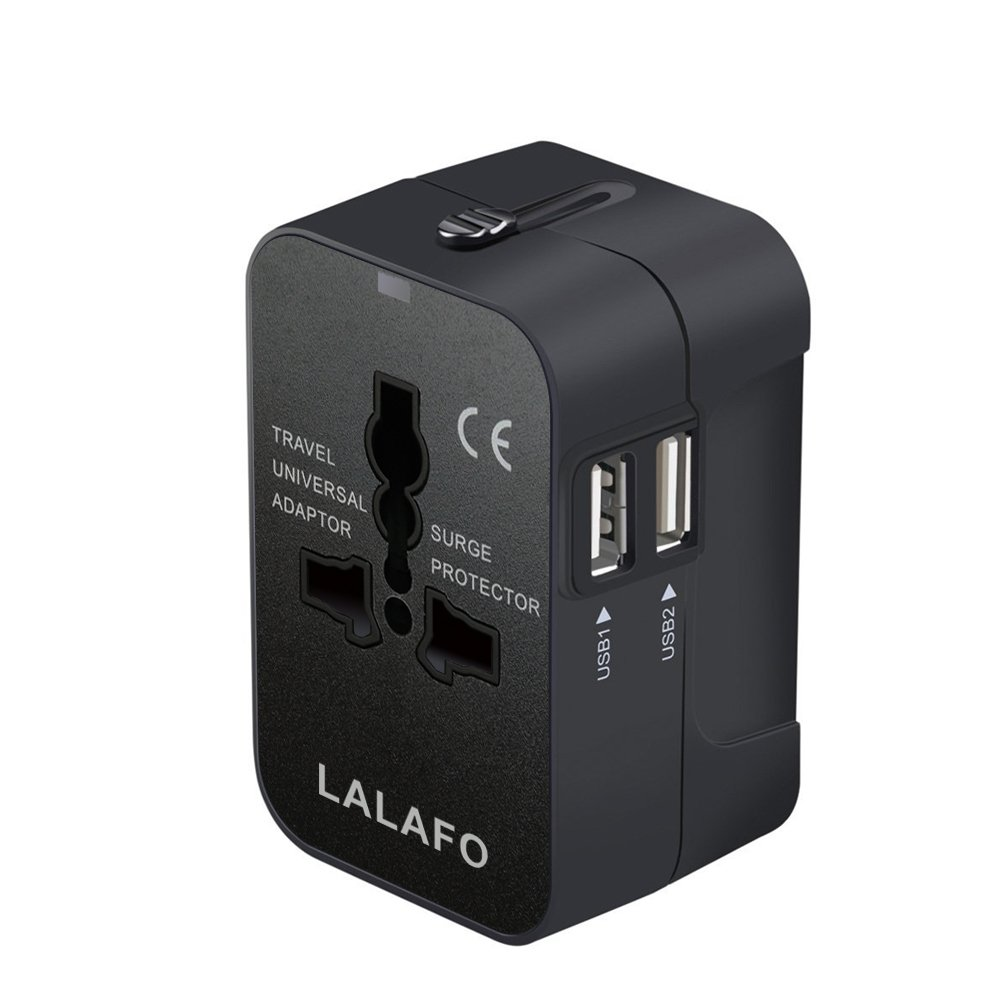 All in One International Universal Travel Adapter,Dual USB Charging Ports Converter for USA EU UK AUS European Compatible with Mobile Phone,Power Bank,Tablet,Laptop and Earphone. (Black)