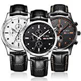 BUREI Mens Stylish Quartz Watches with Anolog Dial Datejust Sapphire Lens Leather Band