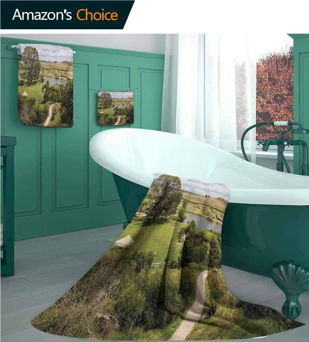 Customblanket Hobbits Bath Towel Set, Overhill Matamata New Zealand Movie Set Hobbit Land Village Movie Set Image, Bath Towels, Hand Towels and Washcloths | Spa & Hotel Towels Quick Dry Green Brown by Customblanket