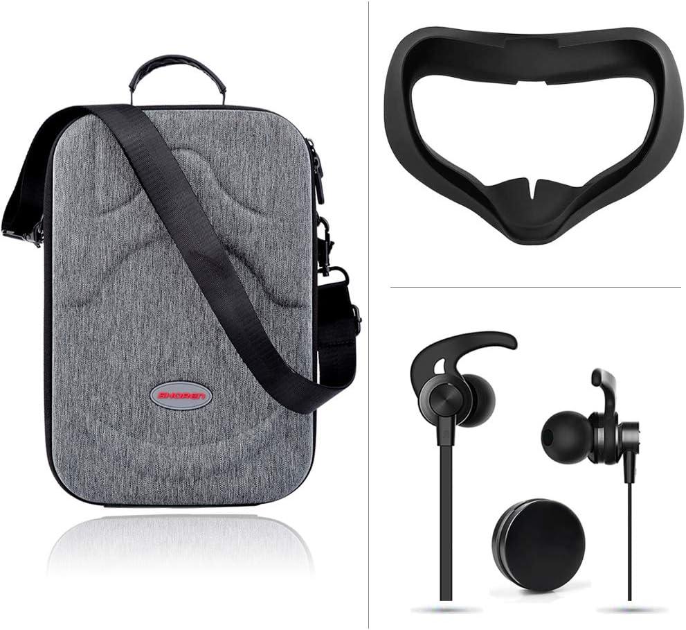Oculus Quest Silicon VR Headset Mascarilla + Carry Case Estuche Rígido Portátil + Audífonos, 3IN1 Accesorios
