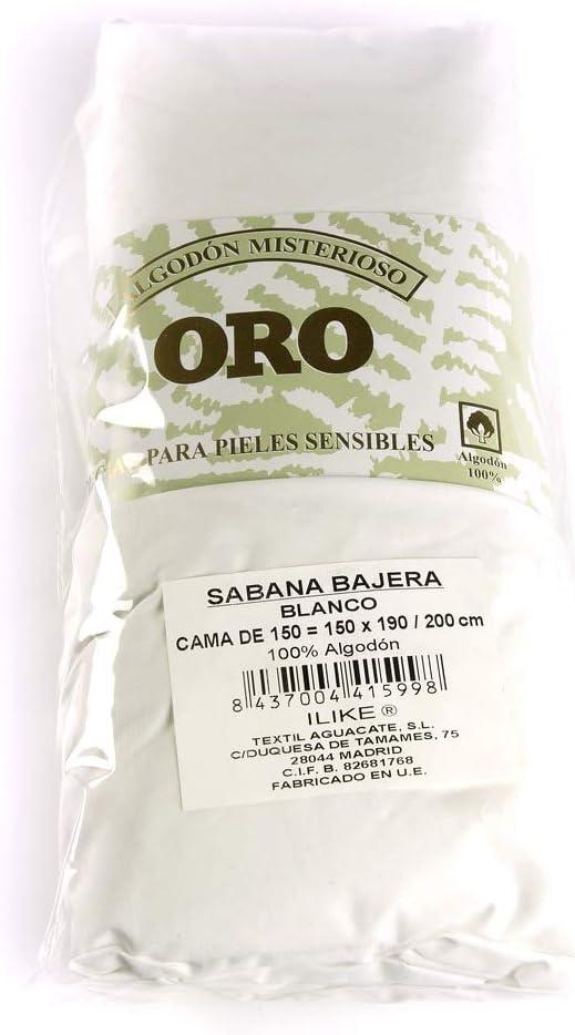 I LIKE Sabana Bajera Ajustable 100% ALGODÓN Serie Oro Color Blanco ...