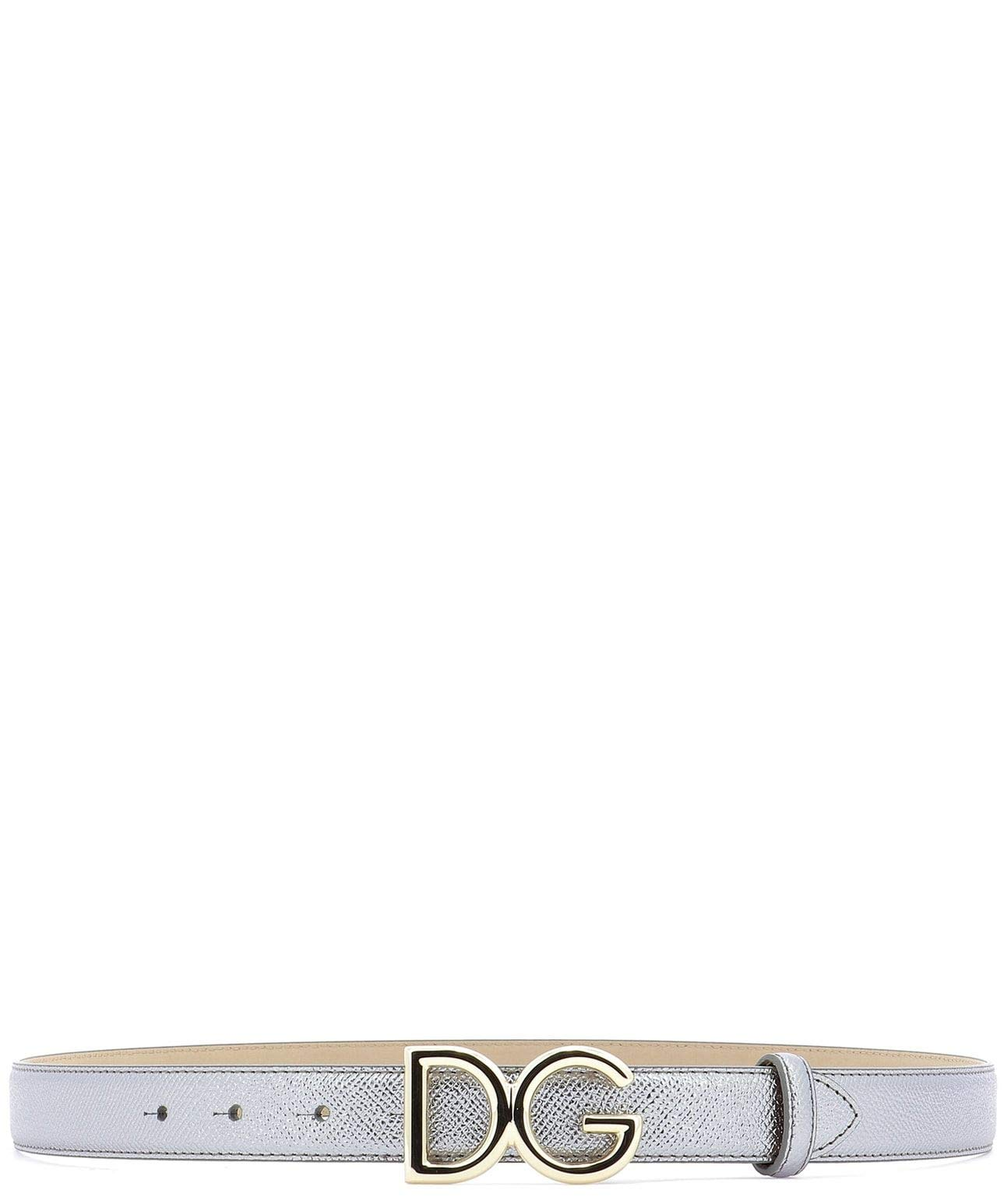 Dolce E Gabbana Women's Be1325az80880750 Silver Leather Belt