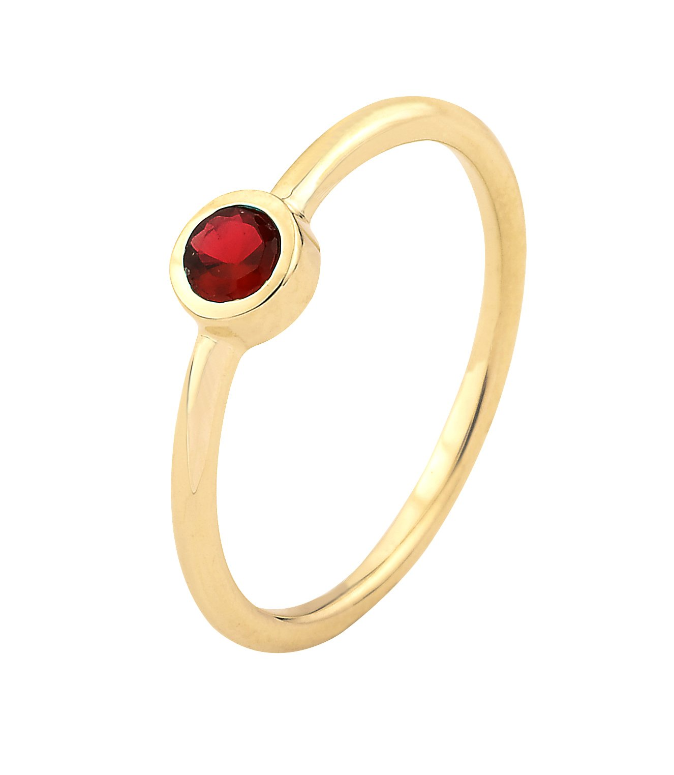 14k Yellow Gold Bezel Set Red Cubic Zirconia January Birthstone Ring (7.5)
