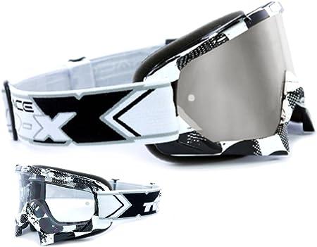 Two X Race Crossbrille Factory Schwarz Weiss Glas Verspiegelt Silber Mx Brille Motocross Enduro Spiegelglas Motorradbrille Anti Scratch Mx Schutzbrille Auto