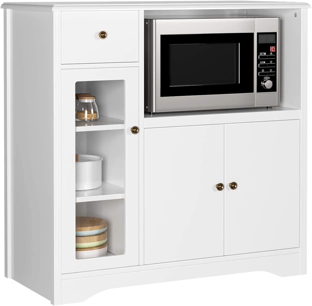 HOMECHO Mueble Auxiliar de Microondas para Cocina Alacena Aparador bajo la Cocina para Almacenamiento Blanco Marfil 90x40x85 cm