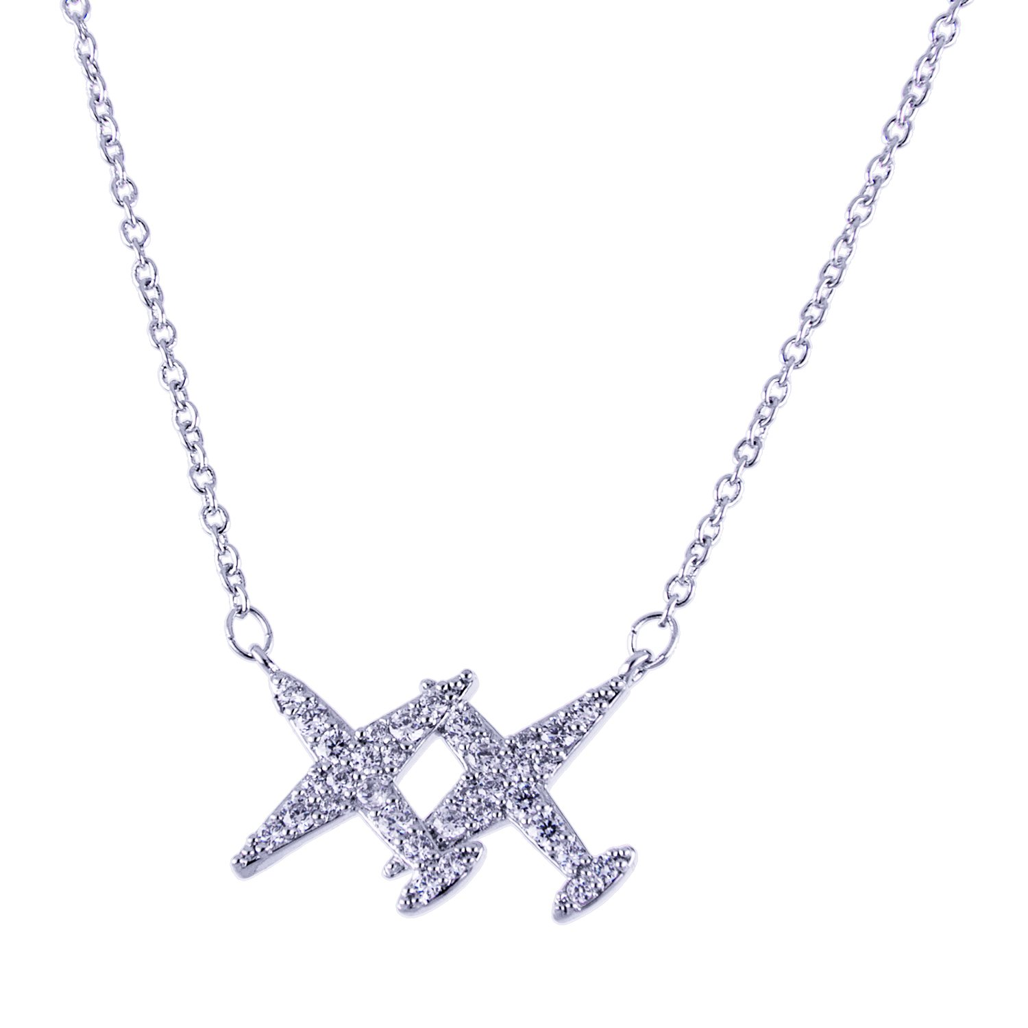 ISAACSONG.DESIGN I's Silver Tone Valentine's Couple Love Travel Theme Aircraft with Austrian Crystal Necklace