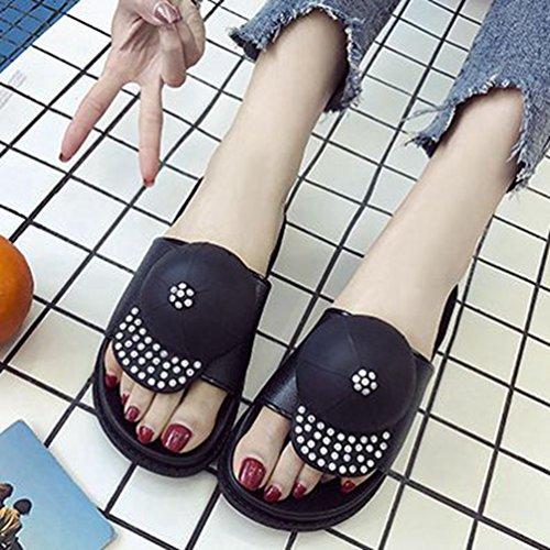 Cute Dérapants Flat Pantoufle Noir Les Summer Slides Femmes Plate de pour Beach Soft Piscine Confort Sandales Forme Anti qxfU7dqR