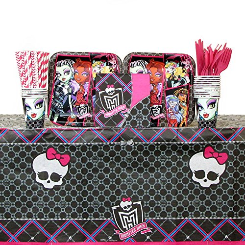 Lunch Monster High Napkins (Monster High Party Supplies Pack for 16 Guests: Straws, Dinner Plates, Luncheon Napkins, Cups, Cutlery and Table Cover (Bundle for)