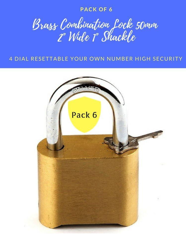Pack de 6 candados de combinación de latón resistente a la intemperie de 50 mm, de seguridad, 4 marcos, reajustables, 5 cm de ancho, grado comercial, 1 pulgada de grillete corto (6): Amazon.es: Bricolaje y herramientas