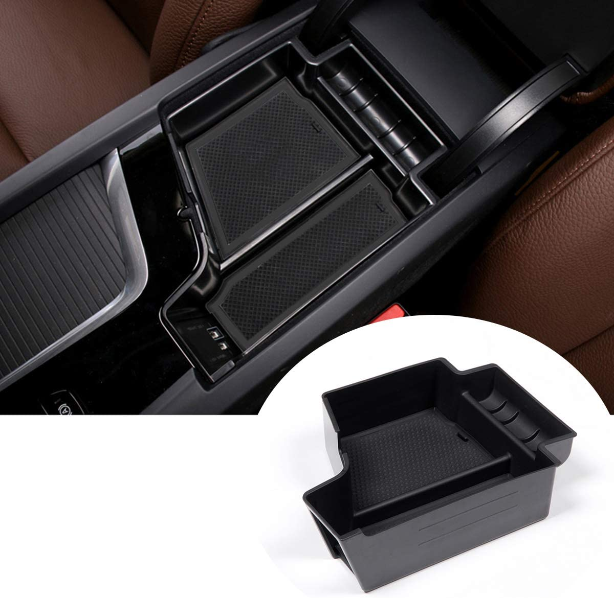 Black Center Storage Box Car Container Holder Tray Armrests For S90 XC90 V90 XC60 2017 2018