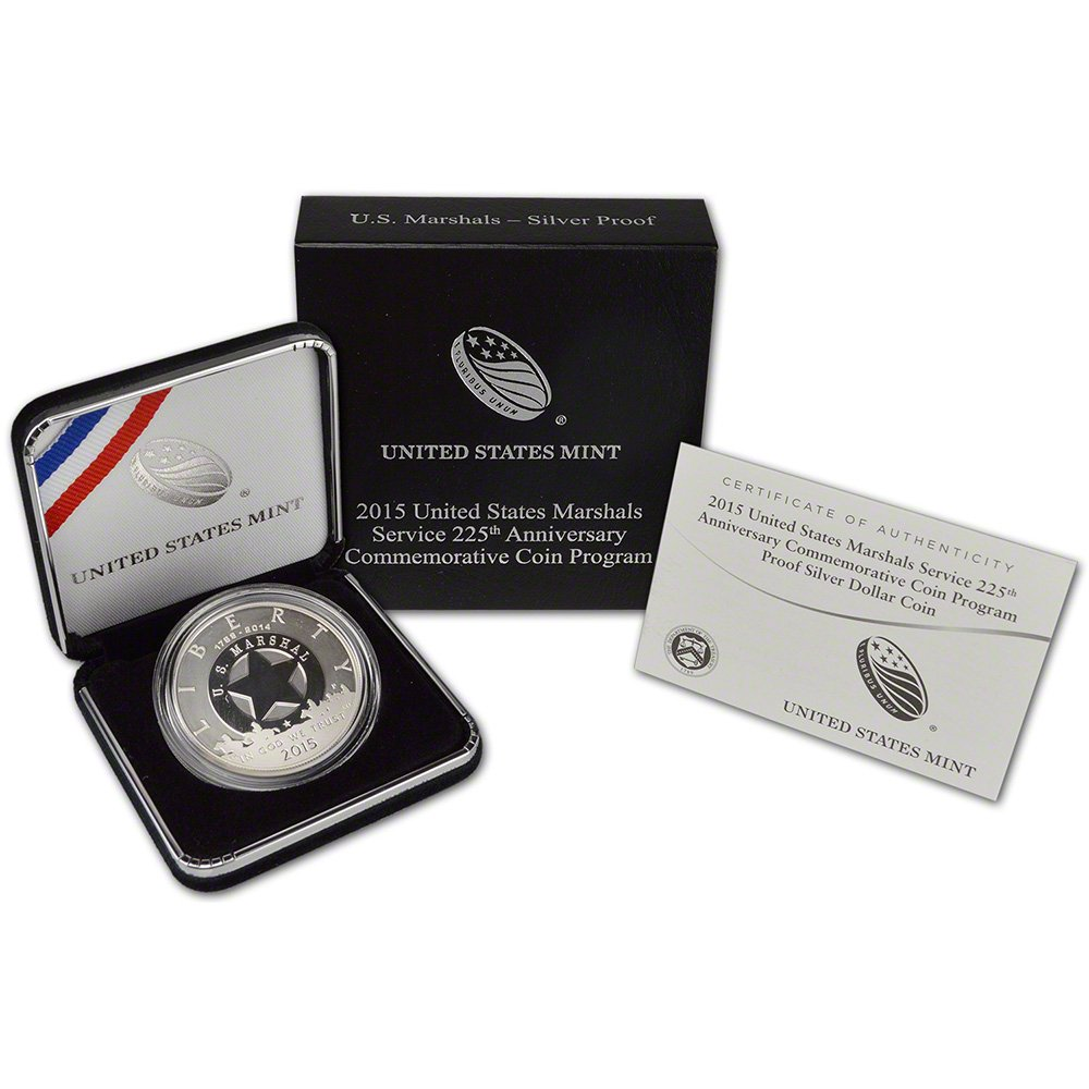 2015-P $1 Marshals Service 225th Anniv Commemorative Silver Dollar in OGP Proof