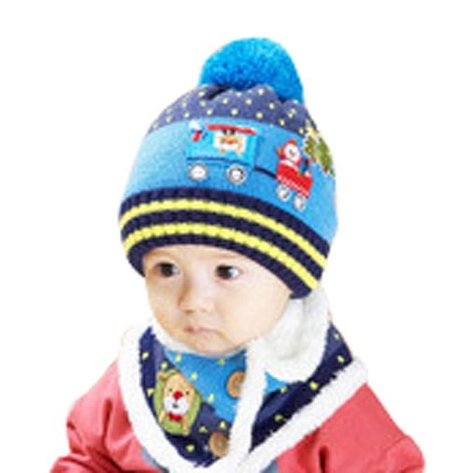 46b877867a0a2 Happy cherry Set de 2 Piezas Gorro Bufanda de Punto Crochet Cálido Suave  para Bebé