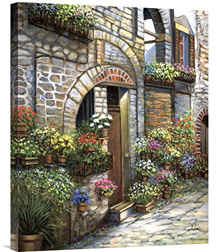 (Global Gallery Budget GCS-117459-2024-142 Sambataro Flower Pots at Spello Gallery Wrap Giclee on Canvas Print Wall Art)
