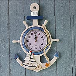 WINOMO Wall Clock Anchor Beach Theme Nautical Wheel Rudder Steering Wall Hanging Decor