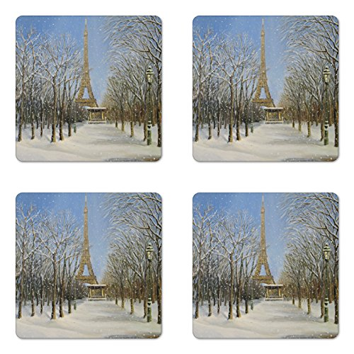 Ambesonne Country Coaster Set of 4, Winter Scene of Historical Eiffel Tower in Paris Snowy City Europe Urban View, Square Hardboard Gloss Coasters for Drinks, White Blue Grey (Best Restaurants In Paris With A View)