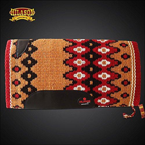 HILASON Western New Zealand Wool Horse Saddle Blanket Crimson Brown