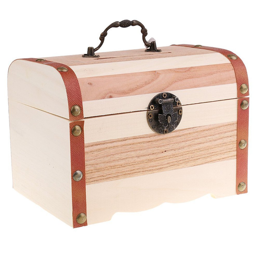 Willcomes Wooden Money Storage Box Treasure Chest Piggy Bank Handmade Jewelry Organizer With Lock and Two Keys by Willcomes