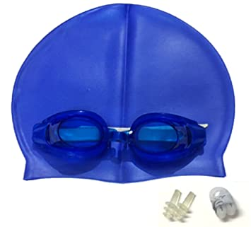 KAAS Complete Swimming Kit with Cap, Goggles and Earplugs