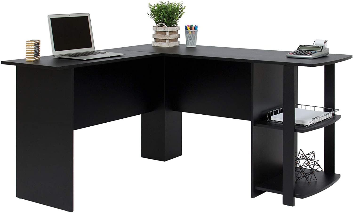 Best Choice Products L-Shaped Corner Computer Desk Study Workstation Furniture for Home, Office w/ 2 Open Storage Bookshelves - Black