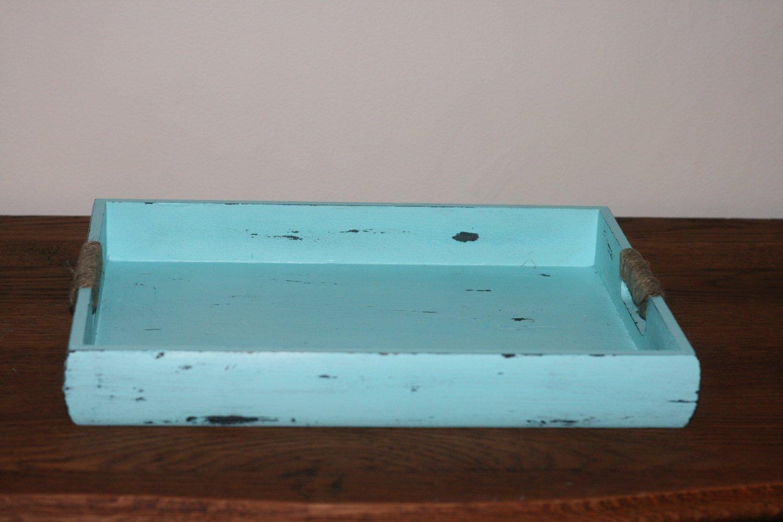 Terrific Nautical Wooden Serving Tray Coastal Ottoman Tray Aqua Short Links Chair Design For Home Short Linksinfo