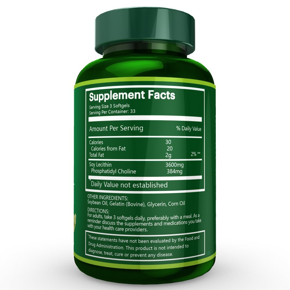 3 Bottles of Soybean Lecithin Softgels, 1200mg per softgel, 100 Softgels/ Bottle, Total 300 Softgels by Na'trition (Image #6)