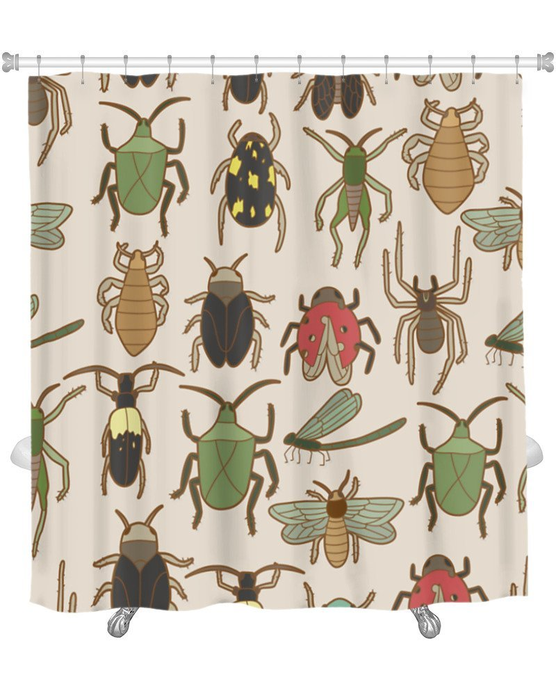 Amazon Gear New Shower Curtain Image Of Bug Pattern GN18659 Home Kitchen
