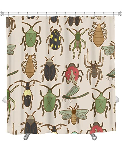 Gear New Shower Curtain Image Of Bug Pattern GN18659